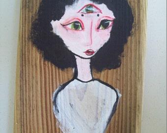 Asylum Senses Original Painting: Sight (Creepy, odd, art, crazy, straitjacket...)