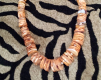 spiny oyster large flat bead one strand necklace