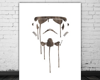 Stormtrooper Art Watercolor, Star Wars Men Birthday, Storm Trooper Star Wars Poster, Black And White Art Stormtrooper Print, Movie Decor