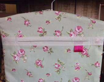 Peg Bag, Laundry, Pin Bag, Sage, Ditsy Pink Flowers, Floral, Kitchen Kitsch, Kitchen Ware, Napery