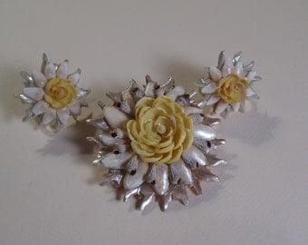Shell Brooch / Pin Earring Set