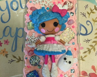 LaLaLoopsy iphone 6 Mittens Fluff 'n Stuff Phone Case! Kawaii Icing Decoden! Glittery! Sparkly!