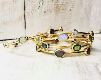 Gemstone Bangle, Brass Bangle, Semi Precious Stones, labradorite, Moonstone, Boho Bracelet, Chakra Jewellery, Gold Bracelete.