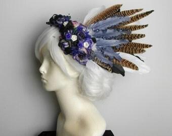 Purple Spring Woodland Fairy Feather Headdress