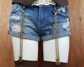 Steampunk Sock Garters, Garter straps, Garter clips, Sock Suspenders, Stocking Garters