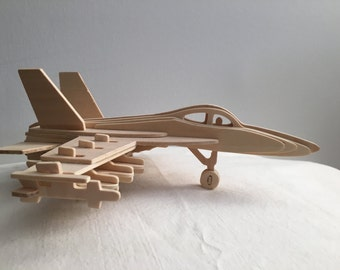 Jet Airplane Fighter... Wood Model completely constructed