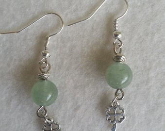 Sterling silver earrings with gemstone and charm