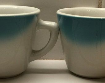 Two Vintage Sambo's Restaurant Coffee Cups/Mugs-Blue Airbrush-Jackson Custom China Co.
