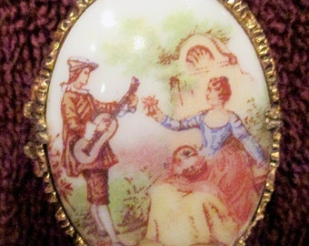 Vintage Mary Chess Solid Cream Perfume Compact Fragonard Oval Hand Painted Porcelain 1960