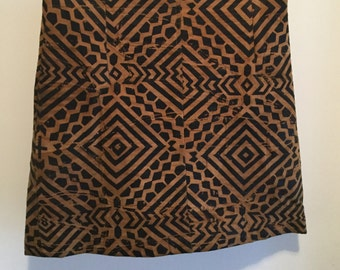 90s Tribal Printed Leather Skirt S