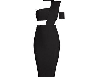 Arabella Lux Bandage Dress - Black