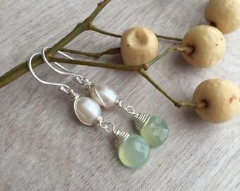 Aquamarine earrings  and Freshwater  pearls earrings  Dangle earrings    Handmade earrings