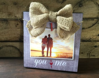 Rustic Wood Picture Frame, Burlap Bow, Wedding Gift, Anniversary Gift, Gift For Her, Couples Gift