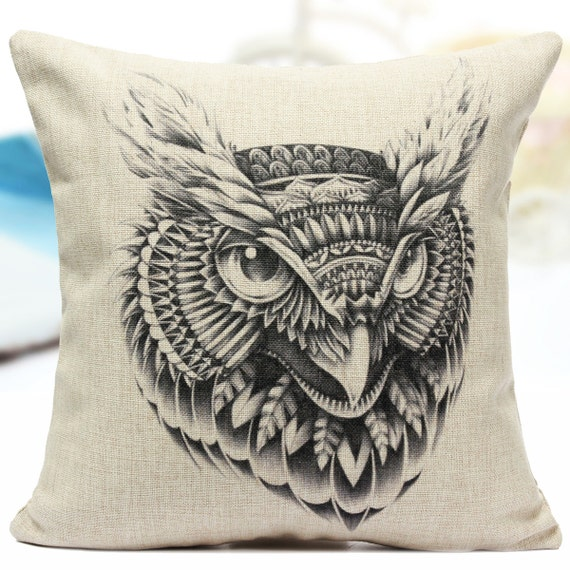 Owl Colouring Cushion, Large Cushion, Illustration, Adult Colouring Book, Colouring Page, Animal, Pages, Decorative Pillow Throw, Art