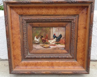 Chickens Oil Painting On Wood Framed Signed