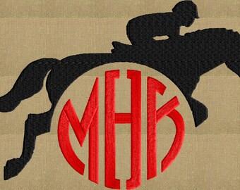 Jumping Horse Frame Design - Equestrian Hunt Seat - EMBROIDERY DESIGN FILE - Instant download - 2 sizes - Hus Dst Vp3 Jef Pes Exp formats