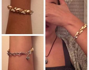 Braided Gold Tone Leather Bracelet