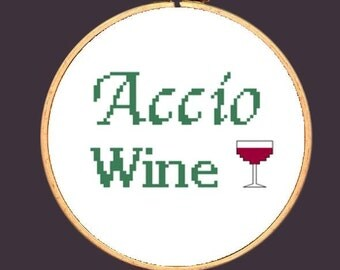 Harry Potter Cross Stitch Pattern Accio Wine Needlepoint Embroidery: Buy 2 Patterns Get 1 FREE!!!
