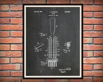 Patent 1957 Hair Brush - Art Print - Poster - Barber Shop Art - Hair Salon Wall Art - Hairdresser Art - Bathroom Decor - Beauty Parlor