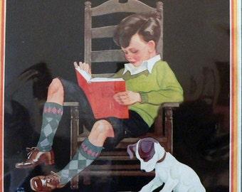 1932 Child Life Matted Vintage Magazine Cover Boy & Dog Reading