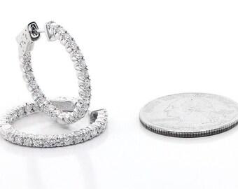 1.96Cts F VS2 Round Cut Diamond Hoop Earrings set in 14K White Gold