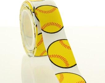 "7/8"" Yellow Softball Grosgrain Ribbon - Choose Length"