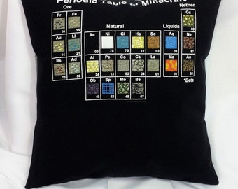 Periodic Table of Minecraft T-shirt made into a pillow cover. Gamer bedding made from a Minecraft shirt the the Periodic Table of Minecraft.