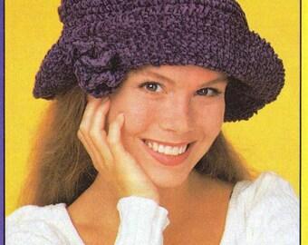 Crochet Chenille Purple Floppy Flower Hat Pattern with crochet flower - Red Hat's Society Hat - Instant Download