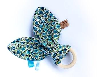 Bunny ear teething ring, wooden teether, baby teething toy, baby boy gift,  shower gift