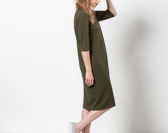 Army Green Dress, Dark Green Dress, Knee Length Dress, Spring Dress Women,Midi Dress,Mini Dress