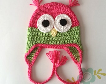 Pink and Lime Owl Hat - Baby to Adult Sizes Available - Pink Owl Hat - Winter Hat - Earflap Owl Hat - Crochet Animal Hat - Baby Owl Hat