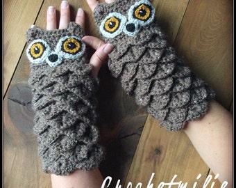 Crochet Owl gloves