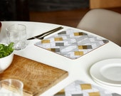 Square placemats, geometric placemats, mustard and grey placemats, large placemats, set of 4, 24x24cm
