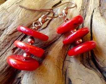 Coral dangling Earrings.  Red Coral. Copper accents. Copper Ear Wires.