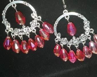 Red AB crystal and silver earrings. Sparkle, sparkle!