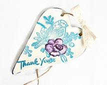 Thank you card alternative, Hanging heart plaque with bird print, Appreciation gift, Embossed clay heart, Thank you gift, Thank you teacher