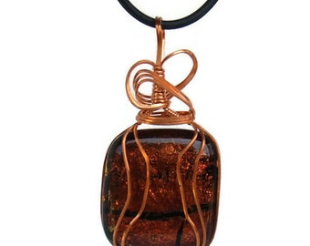 Copper Wire Wrapped Dichroic Glass Pendant