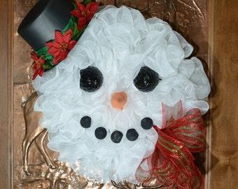 Snowman Wreath, Winter Wreath, White Christmas Wreath, Snowman Mesh Wreath, Holiday Wreath, Front Door Wreath, Whimsical Wreath
