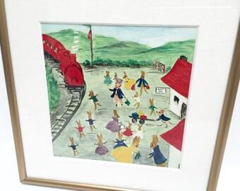 Original vintage painting, bunnies at the train station | nursery decor | children's art | brushed gold frame