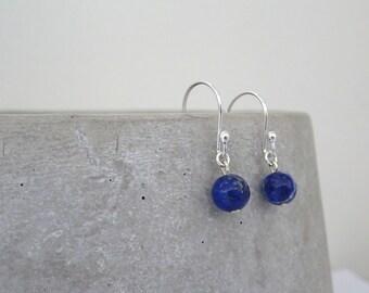 Lapis Lazuli Earrings, Gemstone drop Earrings, Lapis Dangle Earrings, Blue Lapis Earrings, Gift for Her, handmade jewelry