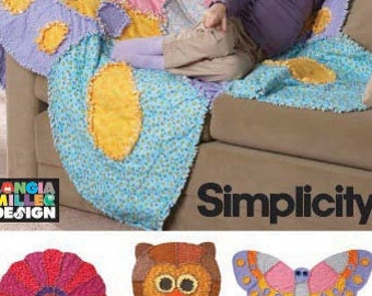 Simplicity sewing pattern 2935 Rag Quilts, Flower, Owl and Butterfly, Children, Boys, Girls, Quilts - new and uncut