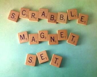 MEGA SALE TODAY, Scrabble Magnet Set, Scrabble, Magnets, Refrigerator Magnets, Magnet Letters, Magnet Words, Housewarming Gift, Abc Magnets