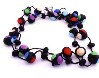 Mondrian glass necklace