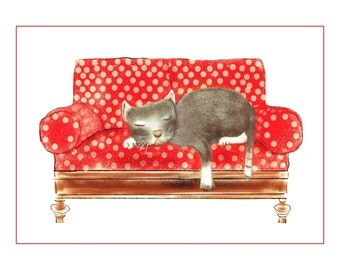 Cat Print, Cat Sleeping On A Couch, Nursery Art, Child Room Decor