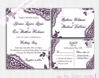 plum wedding invite | etsy, Wedding invitations