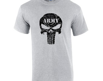 US Army Punisher Skull T-Shirt Distressed Gildan Ultra Cotton