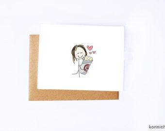 Burrito Hug Love Card // Burrito Baby Valentine // Cards for Burrito Lovers // Burrito Anniversary Card