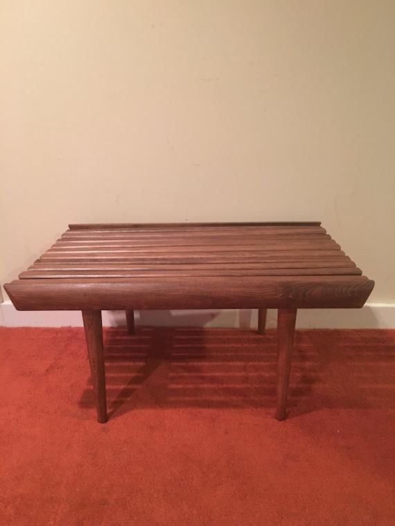 Vintage 30 Slat Bench Mid Century Modern Walnut Slat