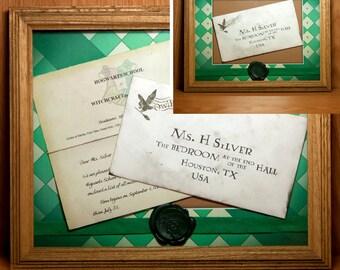 CUSTOM Framed Hogwarts Letter Slytherin, CUSTOM Hogwarts Acceptance Letter Envelope, Slytherin Art, Harry Potter Art