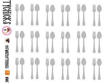 30 Fork & Spoon Stickers